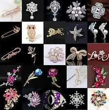 Enamel Gold Silver Crystal Rhinestone Flower Wedding Brooch Pin Bridal Bouquet
