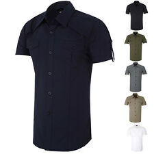 New Men Casual Button Front Slim Fit Short Sleeve Formal Dress Shirts Tops Shirt