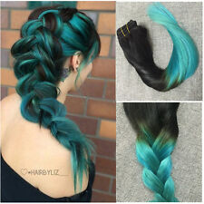 """CLIP IN Remy Human Hair Extensions 22"""" Teal Black Ombre Balayage Dip Dye blue"""