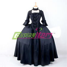 Black Gothic Lolita Dress 18th century Rococo Medieval Renaissance Ball Gown
