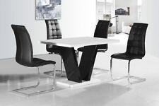 New Stunning Sierra 120cm White High Gloss Dining Table + Chairs