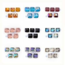 14mm  Faceted Glass Crystal Charms Square Beads Findings 10/20pcs