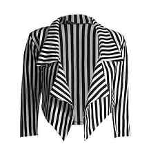 NEW LADIES BLACK AND WHITE STRIPED CROPPED WATERFALL BLAZER JACKET SIZE 8-22