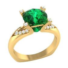 2.25 ct Natural Emerald & Certified Diamond Solid Gold Wedding Engagement Ring