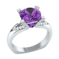 2.25 ct Natural Amethyst & Certified Diamond Solid Gold Wedding Engagement Ring