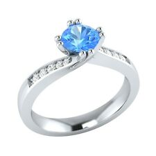0.55 ct Real Blue Topaz & Certified Diamond Solid Gold Wedding Engagement Ring