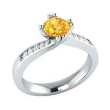 0.55 ct Natural Citrine & Certified Diamond Solid Gold Wedding Engagement Ring