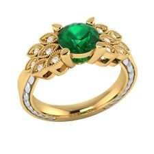 0.85ct Natural Emerald & Certified Diamond Solid Gold Wedding Engagement Ring