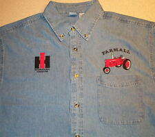 Mens Farmall H/M & IH Logo Embroidered Denim Shirt with Pocket