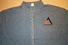 Mens Allis Chalmers Triangle Logo Embroidered Denim Shirt with Pocket