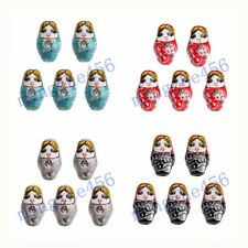 Hand Painted 22x13mm Porcelain Russian Nesting Doll Beads with 2.2mm Hole 10pcs