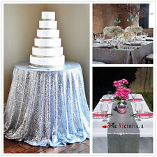 Silver Sequin Table Cloth, Shimmer Sparkly Overlays Tablecloths for Wedding