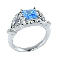 0.95 ct Real Blue Topaz & Certified Diamond Solid Gold Wedding Engagement Ring
