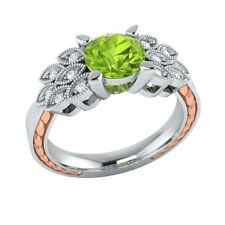 0.85 ct Natural Peridot & Certified Diamond Solid Gold Wedding Engagement Ring
