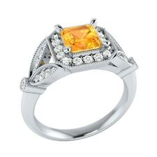0.95 ct Natural Citrine & Certified Diamond Solid Gold Wedding Engagement Ring