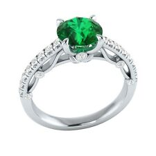 1.30 ct Natural Emerald & Certified Diamond Solid Gold wedding Engagement Ring