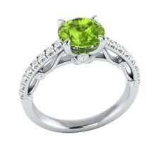 1.30 ct Natural Peridot & Certified Diamond Solid Gold wedding Engagement Ring