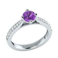0.80 ct Natural Amethyst & Certified Diamond Solid Gold Wedding Engagement Ring