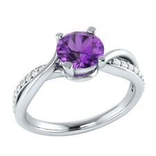 0.70 ct Natural Amethyst & Certified Diamond Solid Gold Wedding Engagement Ring