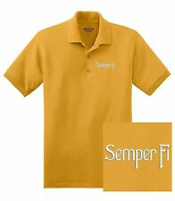 "USMC United States Marine Corps - Embroidered ""Semper Fi"" DryBlend Polo Shirt"