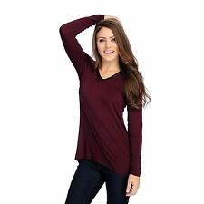 Kate & Mallory Stretch Knit Long Sleeved Faux Leather Trim Hi-Lo Top NWT