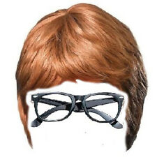 Austin Powers 2pc set Brown Wig and Glasses Groovy 60's Swinging Costume