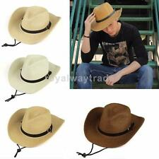 New Stylish Western Cowboy Trilby Unisex Women/Men Straw Hat Wide Brim Sun Hat