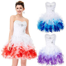 GK Organza Beaded Ball Cocktail Evening Prom Party Dress Formal Short Wedding