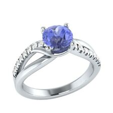 0.80ct Natural Tanzanite & Certified Diamond Solid Gold Engagement Ring