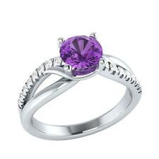 0.80 ct Natural Amethyst & Natural Diamond Solid Gold  Engagement Ring