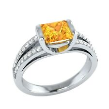 0.90 ct Natural Citrine & Certified Diamond Solid Gold Wedding Engagement Ring