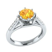 0.70 ct Real Citrine & Certified Diamond Solid Gold Wedding Engagement Ring