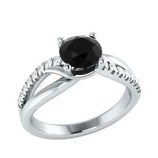 0.80ct Natural Black Spinel & Natural Diamond Solid Gold Wedding Engagement Ring
