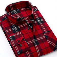 New Flannel Classic Red Plaids Checks Men's Long Sleeve Casual Dress T Shirt Top