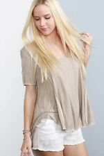NEW Pol Clothing Womens Beige Short Sleeve Oversized Boho Casual Tunic Top S M L