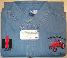 Mens Farmall Cub & IH Collectors Logo Embroidered Denim Shirt with Pocket