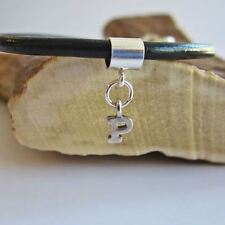 Initial 'P' Sterling Silver European-Style Charm and Bracelet- Free Shipping