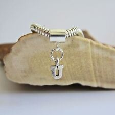 Initial 'U' Sterling Silver European-Style Charm and Bracelet- Free Shipping