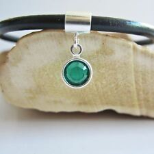 Green Birthstone Swarvski Channel Drop European-Style Charm & Bracelet-Free Ship