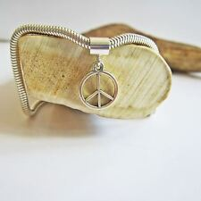 Small Peace Sign Silver-Plated European-Style Charm and Bracelet- Free Shipping