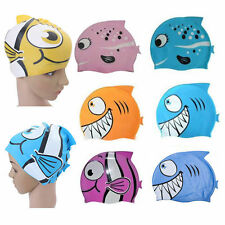 Silicone Kids Chidren Cute Swimming Cap Hat Fish Print Swimming Cap Swim Hat