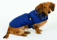 Fashion Pet - Dog Blanket Coat - Faux Fur Shearling Quilted Sherpa Coat  - Navy