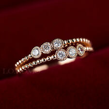 18K ROSE GOLD PLATED FASHION WOMENS CRYSTALS BAND RING SOLID JOURNEY RING 496