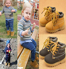 Fashion Child Leather Snow Boots Girls Boys Warm Baby Casual Martin Boots Shoes