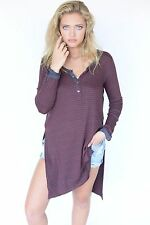 Authentic New Free People We The Free Gwen Henley Maroon & Grey Striped