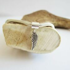 Angel Wing Mini 2D Silver-Plated European-Style Charm and Bracelet-Free Shipping