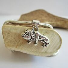 Bulldog Large 2D Silver-Plated European-Style Charm and Bracelet- Free Shipping