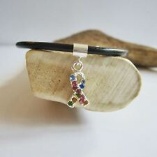 Rainbow Crystal Ribbon European-Style Charm and Bracelet- Free Shipping