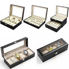 Watch Display Case Leather Storage Jewellery Box Bracelet Tray Top Quality UK