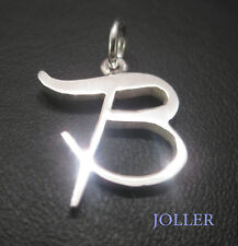 B INITIAL LETTER PENDANT SILVER 925 SELECTABLE FONT GIFT STRING BY JOLLER